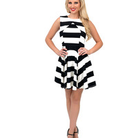 Black & White Stripe Crossover Fit N Flare Dress