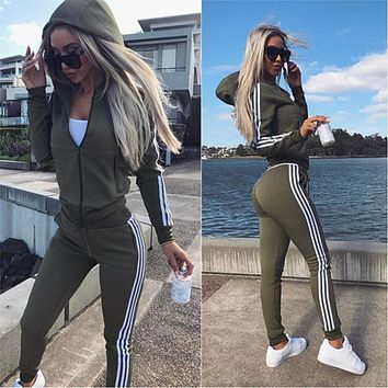 2018 New Tracksuit Women 2 Pieces Set Outwear Sweatsuit Zipper Striped Causal Long Sleeve Sweatshirt + Long Pants Women's Sets