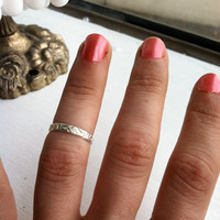 Lotus Embossed Sterling Silver Stacking Ring - Wear as a knuckle ring