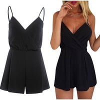 Deep Ruffled V-Neck Romper - Black