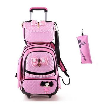 School Backpack Trolley School Bag with 2 Wheels Backpack Children Travel Rolling Luggage School bag for Girls Back Pack Bolsas Mochilas Bagpack AT_48_3