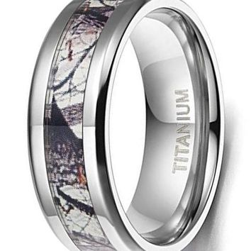 CERTIFIED 8mm Titanium Ring Wedding Band Camouflage Deer Antler Comfort Fit