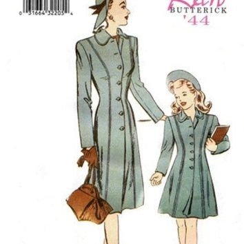 1940s Inspired Mother and Daughter Matching A Line Princess Seam Coat Sewing Pattern, Reissue of 44 Butterick 6758 All sizes included, uncut