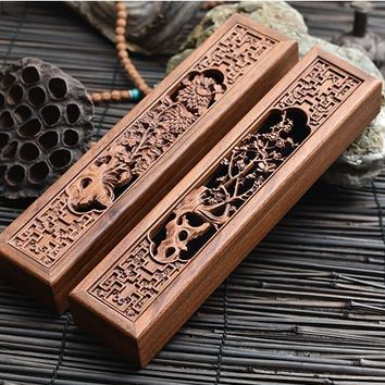 Chrysanthemum or Plum Hollow wooden Incense Burner With Incense Gift Box