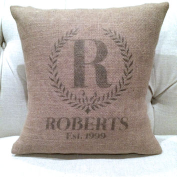 Monogramed Burlap Pillow Cover - Customized & Personalized Wedding - Last Name and Est. Date
