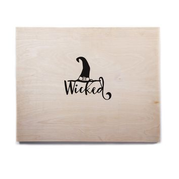 "NL designs ""Wicked Witch"" Black White Typography Holiday Digital Vector Birchwood Wall Art"