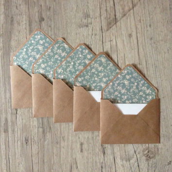 "Small envelopes 4""x3"" - set of 5 crafted envelopes with paper - brown craft envelopes - blue gray rustic cotton paper - europeanstreetteam"