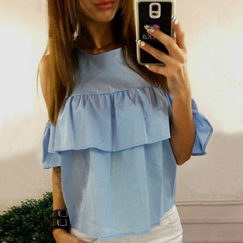 Women's Fashion Leaf Lace Short Sleeve Ladies T-shirts [9753222799]