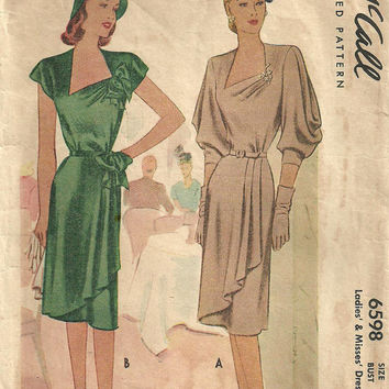 McCall 6598 Vintage 40s Sewing Pattern Dress Size 14
