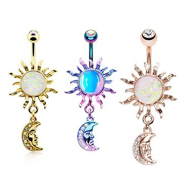 Rose Gold & Gold & Candy Opal Celestial Sun Moon Belly Button Ring