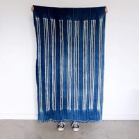 Burkina Faso Indigo with Muted Stripes of Black and White
