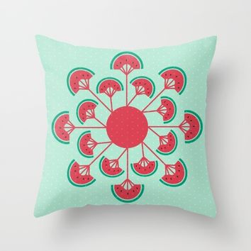 Melon Fleur Fan Pattern Throw Pillow by Aodaria