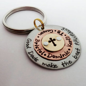 Father's Day Keychain Gift for Dad, Papa, Pop, Poppy, or Grandpa, Personalized Key Chain