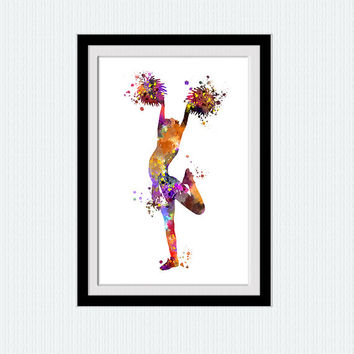 Cheerleader art print Sport watercolor poster Cheerleader wall decor Sport colorful print Kids room wall art Home decoration Gift art W596
