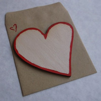 Wooden Heart Card With Envelope, Plain or Decorated by Hand, Customizable
