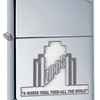 Zippo A Weeks Trial Vintage High Polish Chrome Lighter