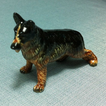 Miniature Ceramic German Shepherd Dog Animal Cute Little Tiny Small Brown Black Figurine Statue Decoration Collectible Hand Painted Figure