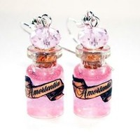 Amortentia Love Potion Glass Bottle Earrings. Harry Potter