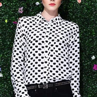 White Apple Pattern Long-Sleeve Collared Blouse With Pocket