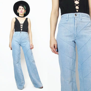 1970s Bell Bottom Jeans 70s Jeans Patchwork Jeans Hippie Boho Flared Denim Light Wash High Waisted Pants Vintage Womens Jeans  (XS/S)