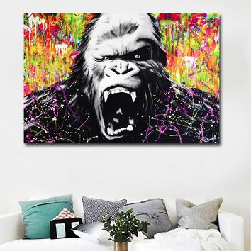 Modern Gorilla Canvas Painting On Canvas Prints Home Decoration Animal Picture Wall Art Paintings For Living Room,Bedroom
