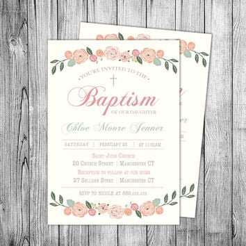 Baptism Girl Invitation Christening from NicoleBCDesign on Etsy