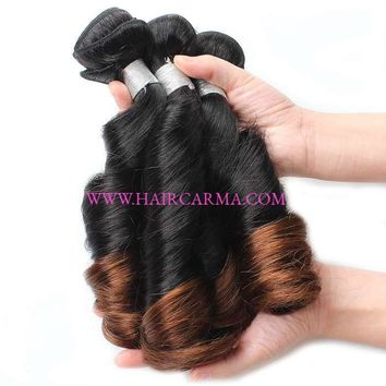 10A Ombre Hair Spring Curl Bouncy Curly Virgin Malaysian Hair Weft 4 Bundles Mink Hair Ombre Color Malaysian Virgin Hair Bundles Spring Curls Virgin Hair Weft 10A  Rating: 100% of 100