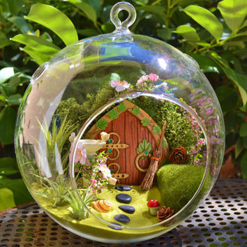 hobbit house terrarium fairy garden with birdbath wooden door green lichen moss - Fairy Garden Terrarium