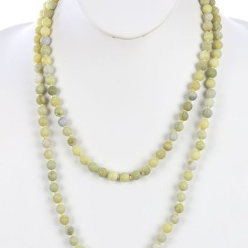Green Natural Stone Bead Extra Long Wraparound Necklace