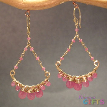 "Pink ruby chandeliers, 1-3/4"" Earring Gold Or Silver"