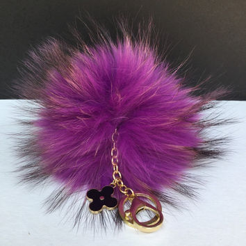 Purple blue with natural markings Raccoon Fur Pom Pom luxury bag pendant + black flower clover charm keychain