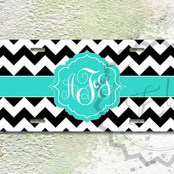 Cute License Plate - Black chevron with Tiffany blue monogram, personalized car tag, front license plate - 261