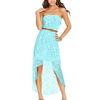 Trixxi Juniors' Lace Ruffled High-Low Dress
