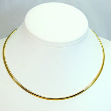 14k Yellow Gold Omega Chain 3mm Choker Necklace Vintage Italy 10g