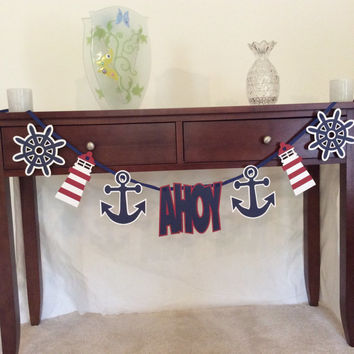Nautical Theme Garland - Naitical theme - Nautical banner - Baby shower decoration - 1st birthday decoration - wedding shower - laser cut