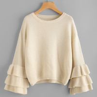 Layered Frilled Trumpet Sleeve Jumper -SheIn(Sheinside)
