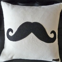 Black Moustache  Pillow,  Mustache Throw Cushion, Man Cave Decor, Eco Friendly, Guys Christmas Gift, SteamPunk, Couch Cushion 18x18