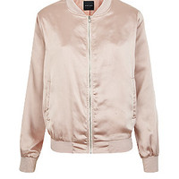 Shell Pink Sateen Bomber Jacket