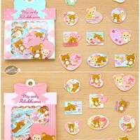 60Pcs/Pack Cartoon Rilakkuma Cute Bow Decorative Stickers Adhesive Stickers DIY Diary Album Scrapbooking Bookmark Label Stickers