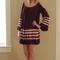 Maroon Tye Dye Dress - Hazel & Olive