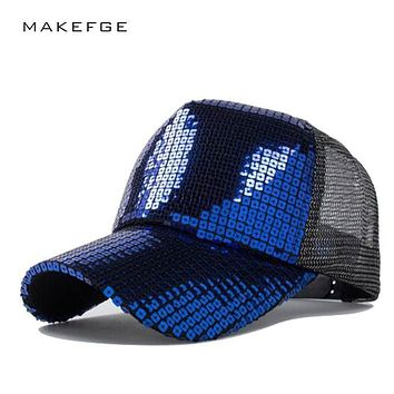 Ms. summer fashion sequined baseball cap visor cap adjustable sun hat hip-hop personality mesh cap   leisure