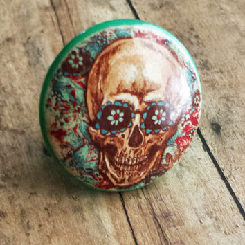 Sugar Skull and Flowers Knob Handmade Drawer Pulls, Birch Wood, Distressed Cabinet Pull Handles, Skeleton Dresser Knobs, Made to Order