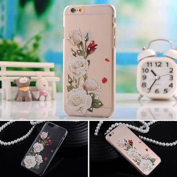 ONETOW case for apple iphone 6 iphone6 4.7 i6 soft cover i transparent mobile phone tpu flower butterfly diamond by gril women fashion