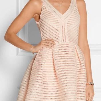 Cutout Flare Zip-Back Pleated Dress