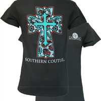 Southern Couture Classic Preppy Paisley Cross Christian Girlie Bright T Shirt