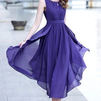 Sleeveless Pleated Slit Chiffon Mid Dress
