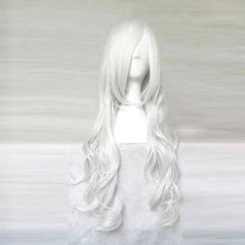 Dream2reality Cosplay_Angel Sanctuary_Rosiel&Jinbei_curly_80cm_silver white_Japanese kanekalon wigs