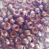 Fifty 6mm Czech glass Lumi Amethyst pony roller beads, large hole iridescent beads, C4350