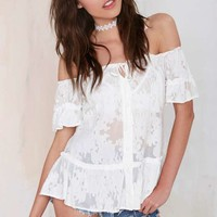 For Love and Lemons Piña Colada Off-the-Shoulder Top