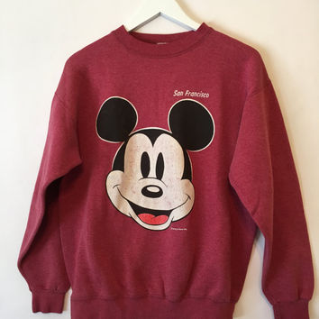 Vintage Mickey Mouse and pluto walt disney crewneck big logo sweatshirt jumper jacket L size WikkVu